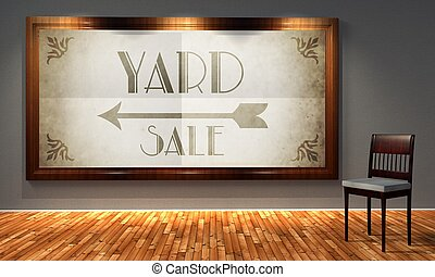 Yard sale vintage direction sign in old fashioned frame