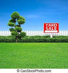 yard- verkauf, zeichen