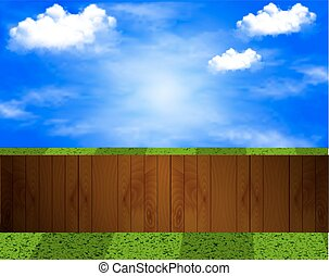 yard with a wooden fence