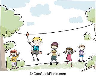 Yard Zipline - Illustration Featuring Kids Riding an...