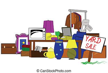 yarda, arte, venta, clip