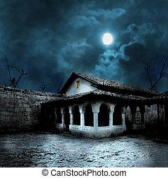 yarda, casa, halloween, luz de la luna, brillante, calabazas...