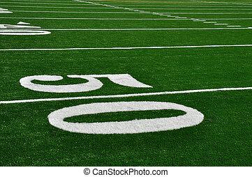 yarda, fútbol, cincuenta, campo, norteamericano, línea