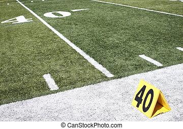Yardline on football field.