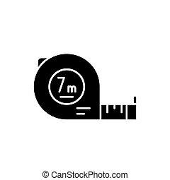Yardstick black icon, concept vector sign on isolated background. Yardstick illustration, symbol