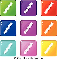 Yardstick icons of 9 color set isolated vector illustration