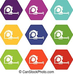 Yardstick icons 9 set coloful isolated on white for web