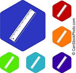 Yardstick icons set hexagon isolated vector illustration
