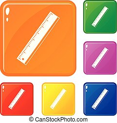 Yardstick icons set collection vector 6 color isolated on white background