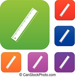 Yardstick set icon color in flat style isolated on white. Collection sings vector illustration
