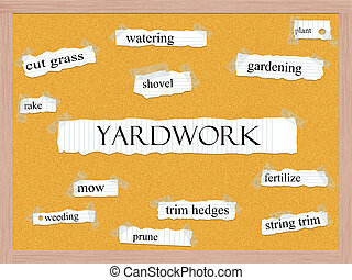 Yardwork Corkboard Word Concept with great terms such as...