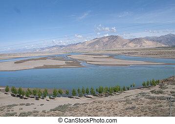 Yarlung Zangbu River in summer at tibet of china