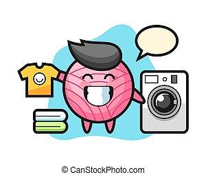 Yarn ball cartoon with washing machine