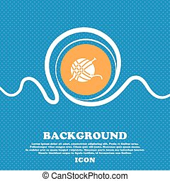 Yarn ball icon sign. Blue and white abstract background flecked with space for text and your design. Vector