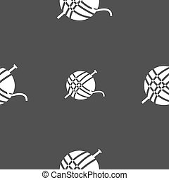 Yarn ball icon sign. Seamless pattern on a gray background. Vector
