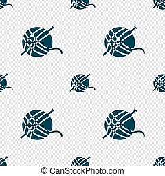 Yarn ball icon sign. Seamless pattern with geometric texture. Vector