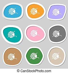 Yarn ball icon symbols. Multicolored paper stickers. Vector