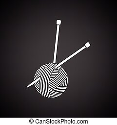 Yarn ball with knitting needles icon. Black background with...
