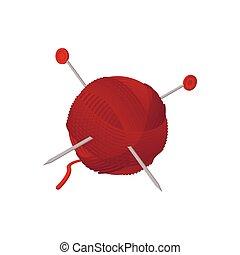 Yarn ball with needles cartoon icon