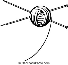 Yarn ball with needles on white background