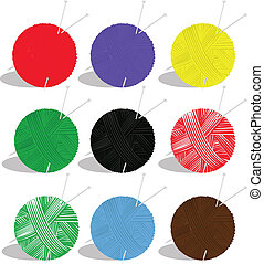 yarn balls - vector set of yarn balls