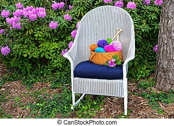 Yarn basket in garden