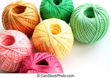 Yarn for handcraft - Multi-coloured hanks of threads on ...