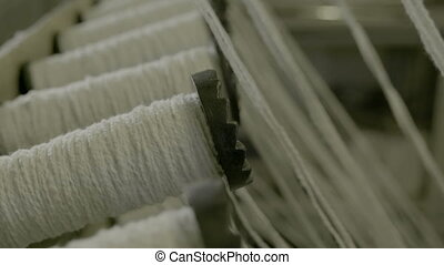 Yarn Spools in a Textile Factory
