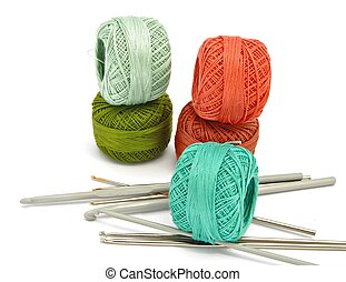needles crochet - Yarns of different colors next to each ...