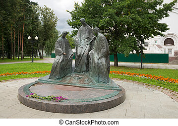 Yaroslavl, Russia - August 14, 2020: Daytime view of the Sculpture Trinity near the assumption Cathedral of the blessed virgin Mary