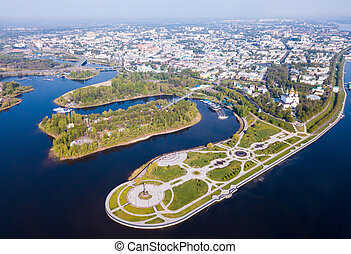 Yaroslavl with Strelka park and Assumption cathedral