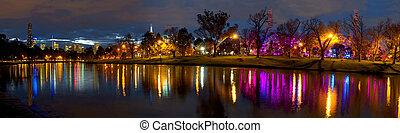 yarra, 墨爾本, 反映, 夜晚, 河, 顏色