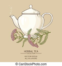 yarrow tea in teapot on color background