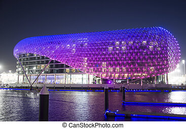 Yas hotel over looking Yas Marina - Yas hotel with the color...