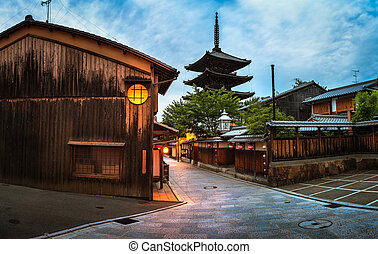 Yasaka Pagoda and Sannen Zaka Street in the Morning, Gion, ...