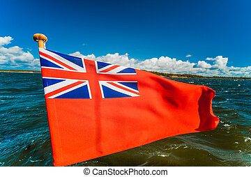 yate, alférez, bandera inglesa, volado, marítimo, reino ...
