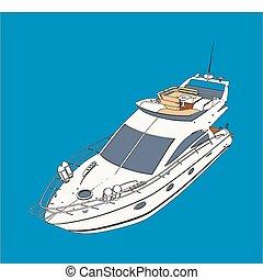 yate, barco, dibujo, mirada, como, pintura