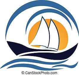 yate, barco, logotipo, diseño