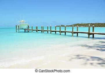 yate, de madera, jetty., bahamas, exuma
