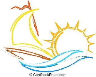 yate, en, el, agua, y, sol