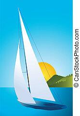 yate navegación, -, vector, regata, barco