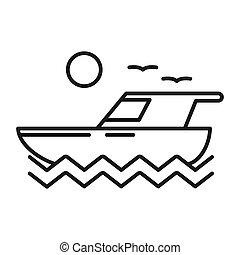 yate, viaje del barco, ilustración, diseño