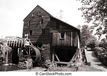 Yates Grist mill - Historic Yates grist mill in black and...