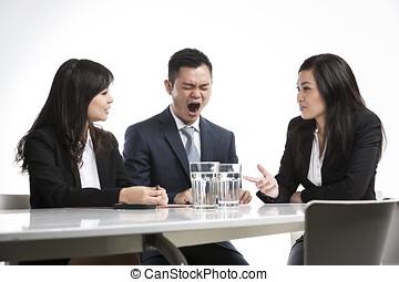 yawning, китайский, бизнес, бизнесмен, в течение, встреча