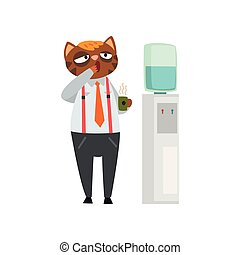 Yawning businessman cat with cup of tea, funny humanized animal cartoon character at work vector Illustration on a white background