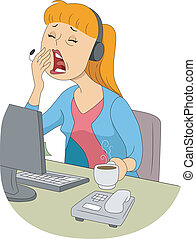 Yawning Girl - Illustration of a Sleepy Girl Trying to Cover...