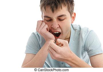 yawning, moe, of, verveeld, jongen