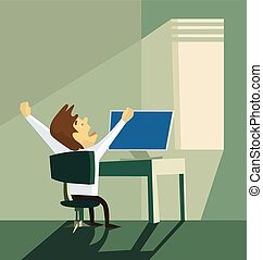 Yawning office worker