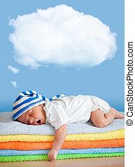 yawning, slapende, baby, in, grappige hoed, met, droom,...