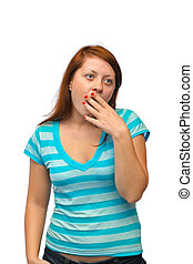 Yawning woman isolated on white background